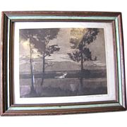 Philip Kappel Signed Original Miniature Etching Chatham Bar, Cape Cod