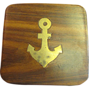 SOLD Hand Held Compass, Mahogany Box with Inlaid Brass Anchor