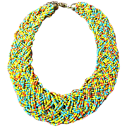 SALE Vintage Turquoise, Yellow, Salmon & Gold Glass Micro Bead Woven Braided Choker Necklace