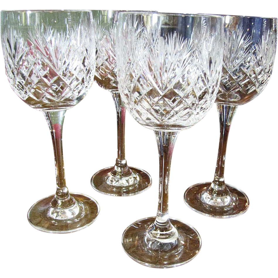 Four Czech Hand Cut Lead Crystal Wine Glasses
