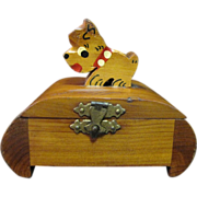 SALE Cute Deco Cedar Trinket Box with Scottie Dog Lid