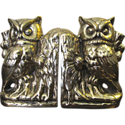 Super Vintage Owl Heavy Cast Brass Bookends