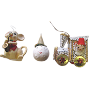 SALE Three Mid Century Japan Tree Ornaments (Lot 5)
