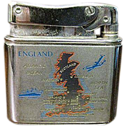 SALE 1950's German Mylflam Pocket Lighter Chrome with Map of England