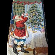 SALE Cheerful Santa Decorating Tree Wool Needlepoint Stocking