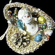 SALE Adorable 50's Santa in Basket Ornate Tree Ornament