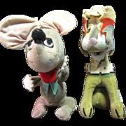 SALE Wacky Pair of 1950's Japanese Velveteen Toys