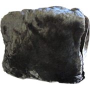 1940's Lavish Sheared Muskrat Fur Muff with Integral Bag