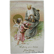 1907, Wishing You A Happy New Year, Embossed Postcard,  Printed in Germany
