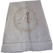 New Old Stock Pure Linen A Mono Finger Towel