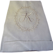 New Old Stock Pure Linen K Mono Finger Towel (3 available)