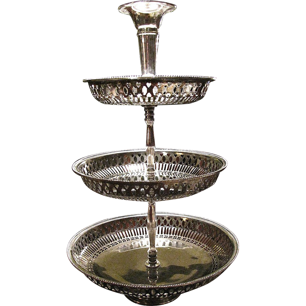 Large 3 Tier Silver Plated Centerpiece Server Holidays