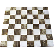 "Hand Made Marble Chess Board, 14"" x 14"""