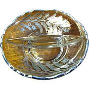 Sterling Overlay Fern Design Divided Bowl