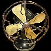 "1909-1919, GE 9"" General Electric Whiz Oscillator Fan, Brass Blades, Rare Dark Green Body"