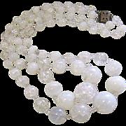 SALE Art Deco Opaline Crackle Glass 2 Strand Graduated Necklace