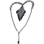 SALE Sweetheart Perfect, Drippy Clear & Amethyst Rhinestone Necklace
