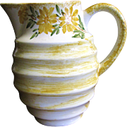 """SALE Pretty Yellow Floral 6""""  Cash Family Pottery Pitcher"""