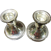SALE Elegant Pair of Mid Century Duchin Sterling Silver Weighted Candle Holders