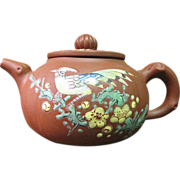 Signed Chinese Yixing Style Teapot with Enameled Bird and Flower Decoration
