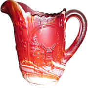 1960's, Windmill Ruby Slag Pressed Glass Pitcher by Imperial