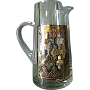 SOLD Elegant Mid Century Gold Encrusted Drinks Pitcher