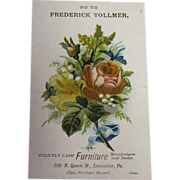 1900's Pink Rose Bouquet Frederick Vollmer, Furniture Manufacturer and Dealer Trade Card