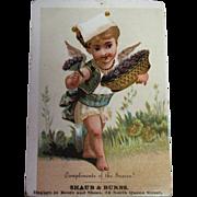 SALE Antique Trade Card circa 1900 - Compliments of the Season! Shaub & Burns
