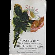 Antique Pink & White Flower Bouquet J. Rose & Son Umbrella and Parasol Manufacturer an