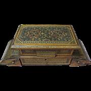 SALE Ornate Antique Tunbridge Marquetry Inlaid Music Box, Padded Silk Lining!