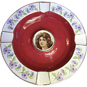 Cico Bavarian Porcelain Portrait Ashtray, Maroon with Gold Trim & Violet Flowers (No 2)