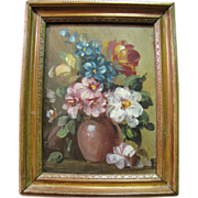 SOLD Harris, Art Order, Charming Petite Vintage Impressionist Still Life of Flowers by Cole