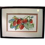 Small Watercolor Still Life Study of Strawberries by Kay Broxton, S.C