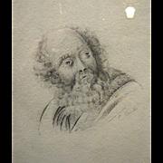 SALE 19th Century Pencil Portrait of a Gentleman in the Renaissance Style
