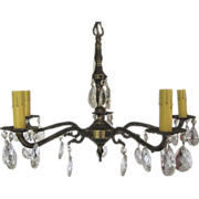 Small Cast Brass Five Arm Chandelier with Lots of Drippy Prisms
