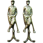 SOLD Pair of Vintage Brass Golfer Double Wall Hooks