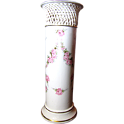 Large Antique German Max Roesler Porcelain Cylinder Vase with Reticulated Rim and Rose Swags