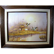 SALE 1960's Tonalist Oil or Acrylic on Canvas, Rural Scene with Flying Wild Ducks, Signed Ambr