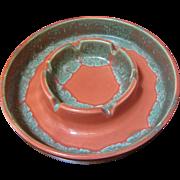 Beautiful Eames Era USA Made Art Pottery Ashtray, Unusual Glaze Colors