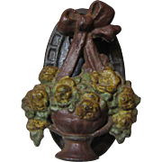 1930's Cast Iron Flower Basket Door Knocker by Hubley, Original Paint