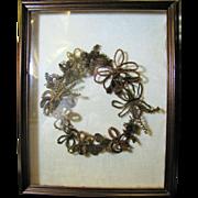 Victorian Hair Mourning Wreath in Walnut Shadow Box Frame