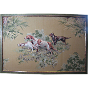 SALE Hand Stitched 3 Dimensional Textile Picture of Hunting Dogs