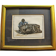 SALE Evocative Small Signed Print by Robert Hall, African American Child with Cotton Bale