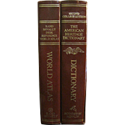 1985 American Heritage Dictionary / World Atlas Set w/ Box College Set