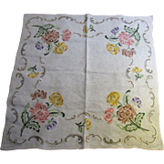Beautiful Heavy Linen Arts & Crafts Embroidered Tablecloth