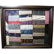 Custom Framed Block of Hand Stitched Victorian Silk Quilt