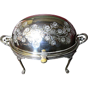 SALE Antique Silverplated English Breakfast Server/Warmer with Revolving Dome & Internal Trive
