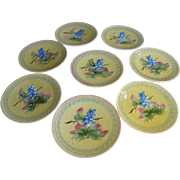 """Eight Vintage 7 1/2"""" Majolica Grape Design Plates by Black Forest Pottery of Erphila ..."""