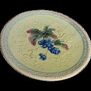 "12"" Majolica Grape Design Platter by Black Forest Pottery of Erphila, Germany"