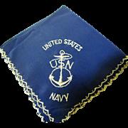 SALE Nice WW2 US Navy Hankie with Anchor Logo
